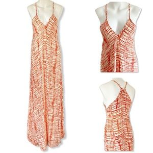 Tolani Maxi Dress V-Neck Silk Orange Cream NEW XS